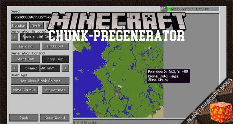 Chunk-Pregenerator Mod 1.16.5/1.12.2/1.7.10